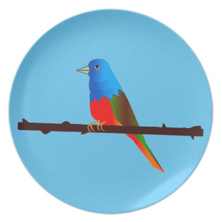 Painted Bunting Bird Art on Dinner/Party Plate