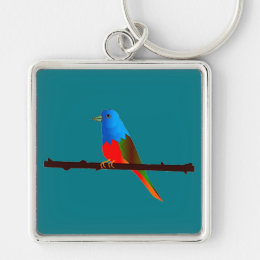 Painted Bunting Bird on Premium Key Chain