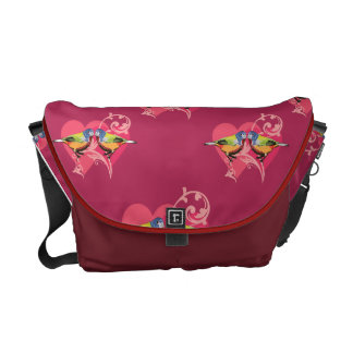 painted bunting birds pattern messenger bag