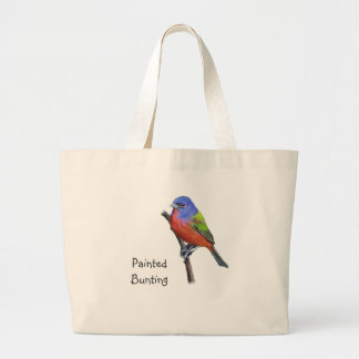 Painted Bunting Image Large Tote Bag