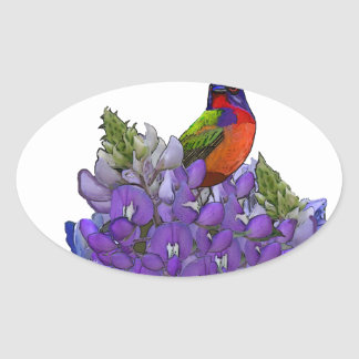 Painted Bunting on Bluebonnets Oval Stickers