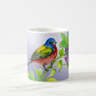 Painted Bunting on Lilac Branch coffee mug
