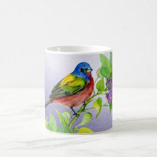 Painted Bunting on Lilac Branch coffee mug