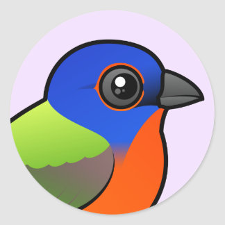 Painted Bunting Round Stickers