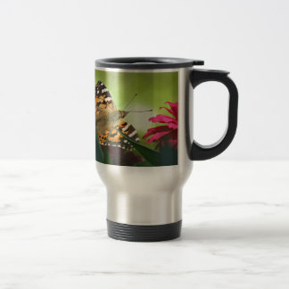 Painted Butterfly and Zinnias Travel Mug