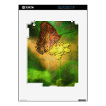 Painted Butterfly on Flower Stem Decals For The iPad 2