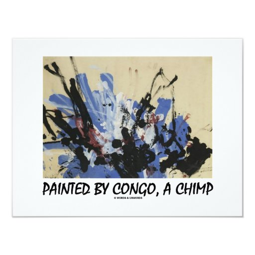 Painted By Congo, A Chimp 4.25x5.5 Paper Invitation Card