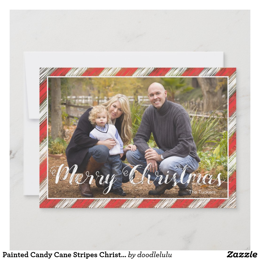 Painted Candy Cane Stripes Christmas Photo Card