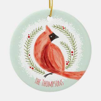 Painted Cardinal Wreath Custom Family Name & Photo Ceramic Ornament
