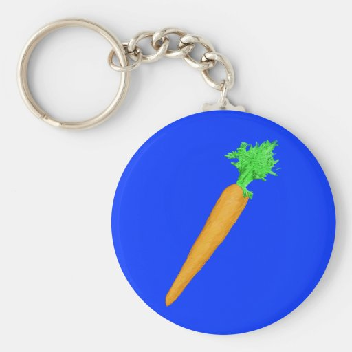 Painted Carrot Basic Round Button Keychain