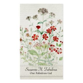 Painted Catchfly Flower Bouquet Vintage Script Business Card