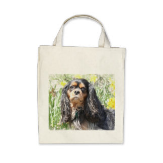 Painted Cavalier King Charles Spaniel Canvas Bag