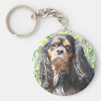 Painted Cavalier King Charles Spaniel Basic Round Button Keychain