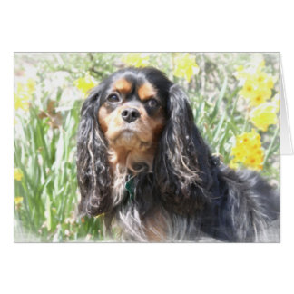 Painted Cavalier King Charles Spaniel Greeting Car Card