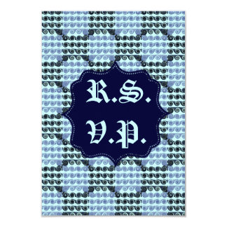 Painted Checkered Swirls (Blue) (Wedding) Card