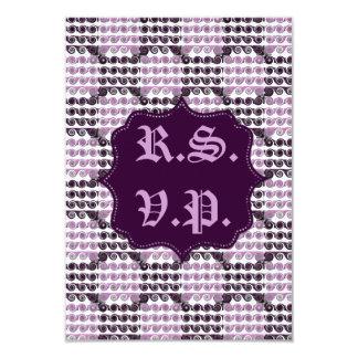 "Painted Checkered Swirls (Purple) (Wedding) 3.5"" X 5"" Invitation Card"