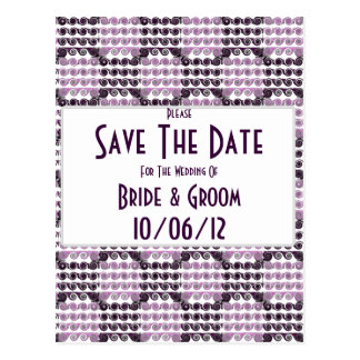 Painted Checkered Swirls (Purple) (Wedding) Post Cards