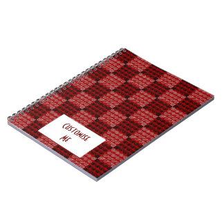 Painted Checkered Swirls (Red) Spiral Notebook