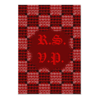 Painted Checkered Swirls (Red) (Wedding) Card