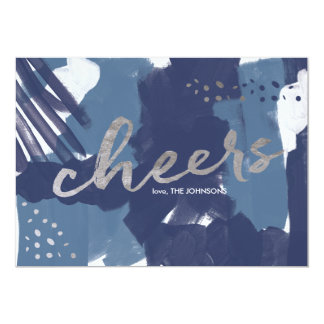 Painted Cheers Abstract Brush Strokes New Year's Card