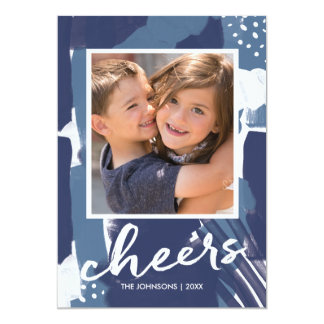Painted Cheers Blue Abstract New Year's Photo Card