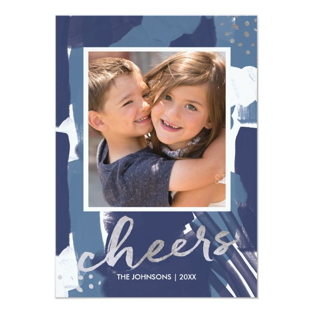 Painted Cheers Faux Silver Foil and Blue Abstract Card