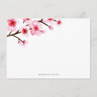 Painted Cherry Blossom Stationery Flat Cards