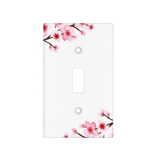 Painted Cherry Blossoms Light Switch Cover