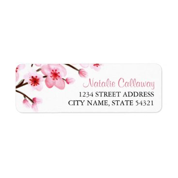 origamiprints Painted Cherry Blossoms Return Address Labels