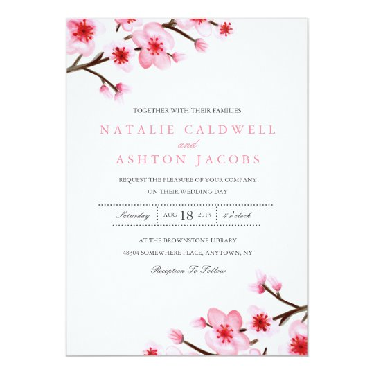 painted cherry blossoms wedding invite. Black Bedroom Furniture Sets. Home Design Ideas