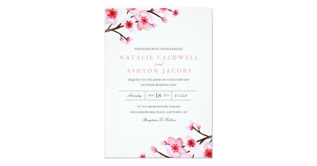 Painted Cherry Blossoms Wedding Invite | Zazzle.com