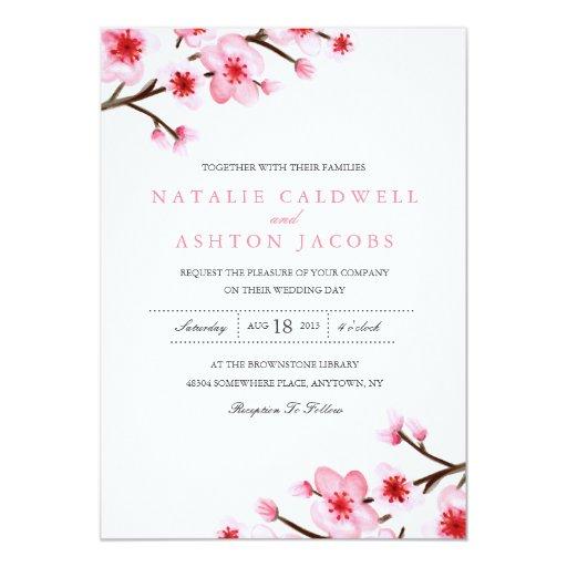"Painted Cherry Blossoms Wedding Invite 5"" X 7"" Invitation Card"