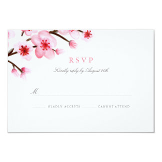Painted Cherry Blossoms Wedding RSVP 3.5x5 Paper Invitation Card