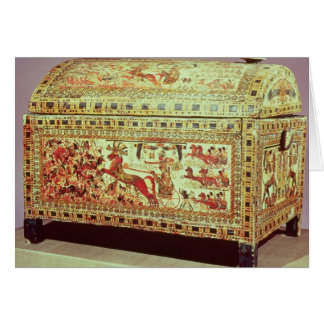 Painted chest depicting king on chariot card