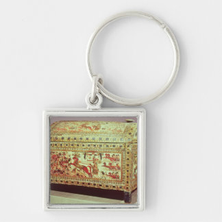 Painted chest depicting king on chariot keychain