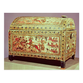 Painted chest depicting king on chariot postcard