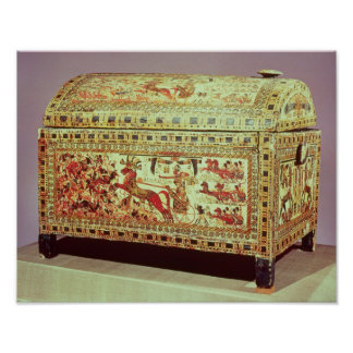 Painted chest depicting king on chariot poster
