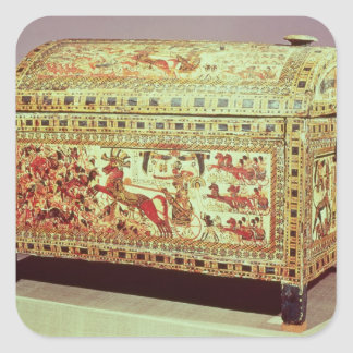 Painted chest depicting king on chariot square sticker