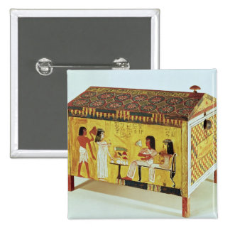 Painted chest with a banquet scene pins