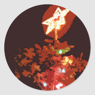 Painted Christmas Classic Round Sticker