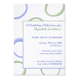 Painted Circles lavender 3 Birthday Party Invite