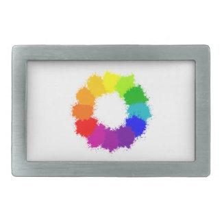Painted Color Wheel Artist and Art Teacher Rectangular Belt Buckle