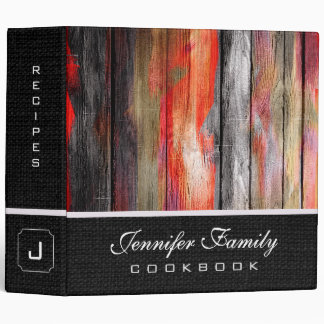 Painted Color Wood Family Recipes Burlap Look #6 Binder