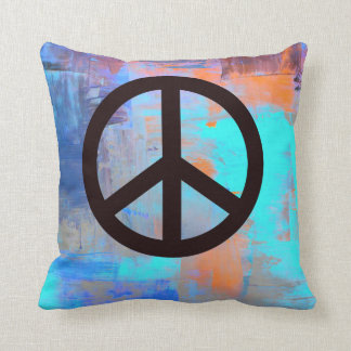 'Painted' colors with Peace Symbol Pillow