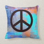 'Painted' colors with Peace Symbol Pillows