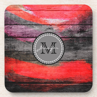 Painted Colors Wood Look Monogram #9 Coaster