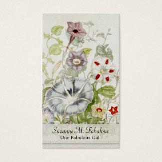 Painted Convelvulus Flower Bouquet Vintage Script Business Card