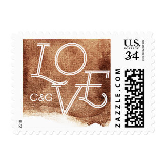Painted copper color love modern simple monogram postage