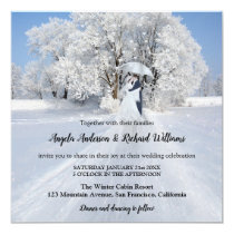 Painted Couple with Umbrella Snow Winter Wedding Invitation