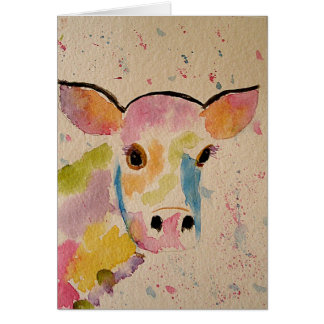 Painted Cow Blank Greeting Card